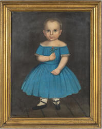 American School, 19th Century      Portrait of a Boy in a Blue Dress