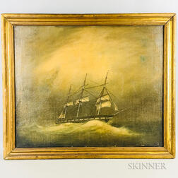 American School, 19th Century    Ship Caught in a Storm