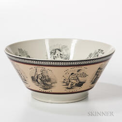 """Large Don Carpentier Slip- and Transfer-decorated """"The Potters' Art"""" Bowl"""