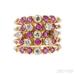 Gold, Ruby, and Diamond Harem Ring