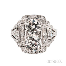 Art Deco Platinum and Diamond Twin-stone Ring