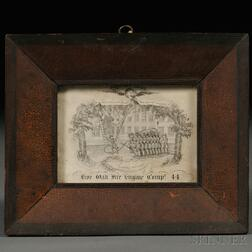 Framed Engraved Firemen's Ball Ticket