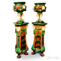 Pair of Modern Majolica Pedestals and Figural Urns