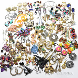 Large Collection of Costume Jewelry Earrings