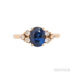 18kt Gold, Sapphire, and Diamond Ring, Fred