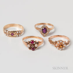 Four 14kt Gold, Pearl, and Gem-set Rings