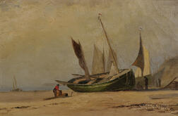 Marshall Johnson Jr. (American, 1850-1921)      Fishing Boats Beached