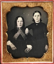 Sixth-plate Tinted Daguerreotype of Two Stylish Young Women