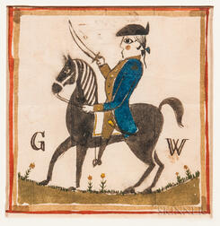 Watercolor Picture of George Washington on Horseback