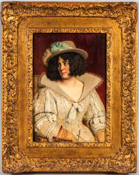Attributed to Carl Probst (Austrian, 1854-1924)    Lady with a Feathered Hat