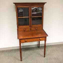 Country Turned and Glazed Pine Desk/Bookcase