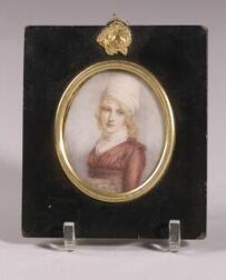 Portrait Miniature On Ivory of Young Woman