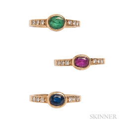 Three 18kt Gold Gem-set Rings