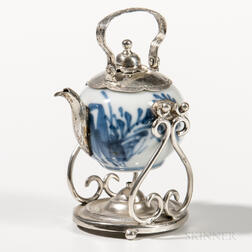 Silver and Porcelain Miniature Teakettle on Stand