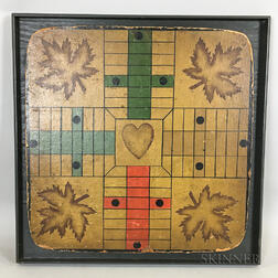 Framed Lithographed Cardboard Parcheesi Game Board