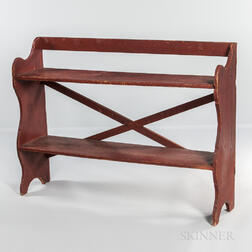 Red-painted Pine Bucket Bench