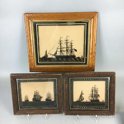 Four Framed Reverse-painted Silhouetted Nautical Scenes