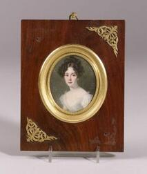 Portrait Miniature on Ivory of a Lady in White