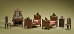 Six-Piece Miniature Hand-carved Black Forest Style Bedroom Suite