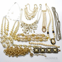 Collection of Faux Pearl and Costume Jewelry Necklaces and Bracelets