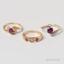 Three Gold, Diamond, and Ruby Rings