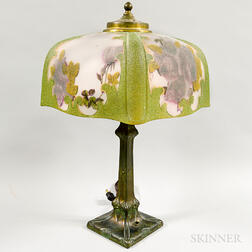 Art Nouveau-style Floral-decorated Glass and Metal Table Lamp