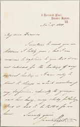 Paget, Sir James (1814-1899) Autograph Letter Signed, 12 November 1880 to Charles Darwin (1809-1882)