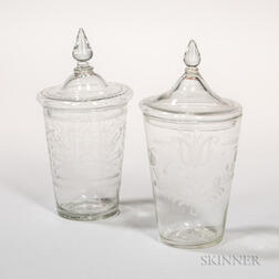 Two Blown and Wheel-engraved Covered Flip Glasses