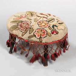 Floral Upholstered Stool with Tassels