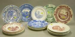 Twenty-one Assorted Wedgwood Transfer Decorated College Plates