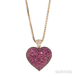 14kt Gold and Ruby Pave Heart Pendant with Chain