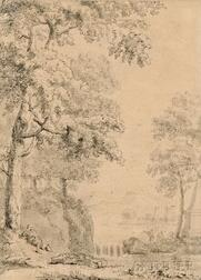 Flemish School, 18th Century      Landscape with a Figure Resting Under a Tree