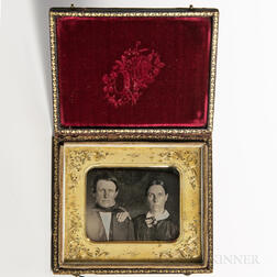 Sixth-plate Tinted Daguerreotype of a Wife and Husband