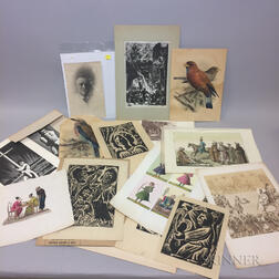 Assorted Group of 19th Century Hand-colored Asian Themed Prints, Woodblock Prints, and Reproductions.     Estimate $20-200
