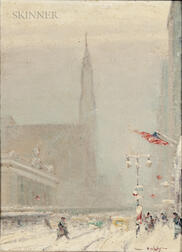 Johann Berthelsen (American, 1883-1972)      Forty-second Street in Snow