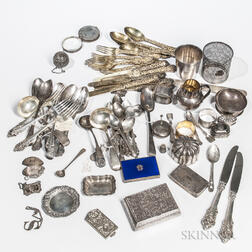 Group of Sterling Silver and Coin Silver Flatware and Tableware