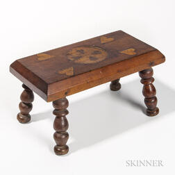 Heart Inlaid Footstool