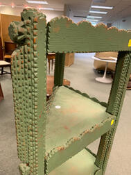 Triangular Green-painted Tramp Art Corner Shelf