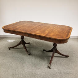Federal-style Inlaid Mahogany Double-pedestal Dining Table