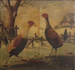 Anglo/American School, 19th Century    Cock Fight.