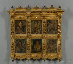 Italian School, 16th Century Style      Group of Six Religious Paintings on Copper in Common Giltwood Frame