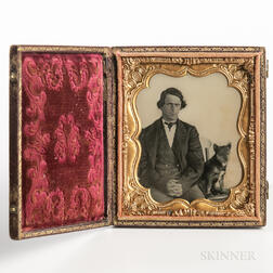 Sixth-plate Ambrotype of a Seated Man and His Dog