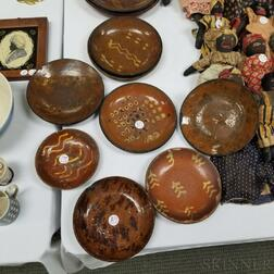 Ten Glazed Redware Pottery Plates