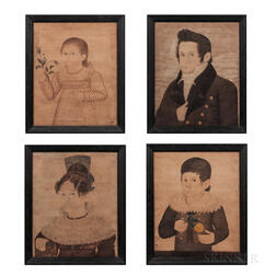 Mr. Wilson (New Hampshire, act. 1810-1830s)      Portraits of a Man, Woman, Boy, and Girl