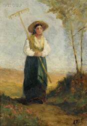 Edward Mitchell Bannister (American, 1828-1901)      Headed Home from Haymaking/ A Figure Study