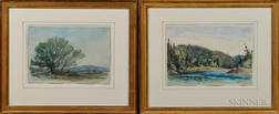 Edward Clarke Cabot (American, 1818-1901)      Two Framed Watercolor Landscapes: Noon Hill, Medfield