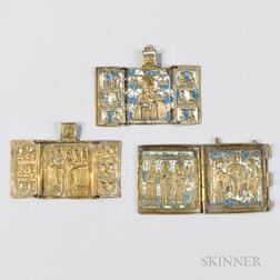 Three Russian Brass Traveling Icons