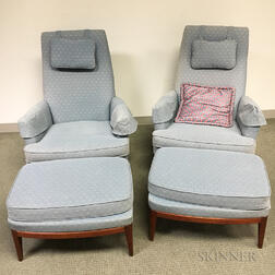 Pair of Dux Lounge Chairs with Ottomans