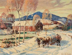 James King Bonnar (American, 1883-1961)      Vermont Covered Bridge in Winter
