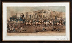 George E. Madeley (British, act. 1840-1859)      Mr. van Amburgh's Public Entry into London, at Hyde Park Corner